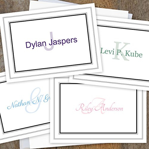 Bordered Monogramed Notecard Foldover Personalized Stationery - Set of 12 cards - 12 plain, white envelopes Photo #6