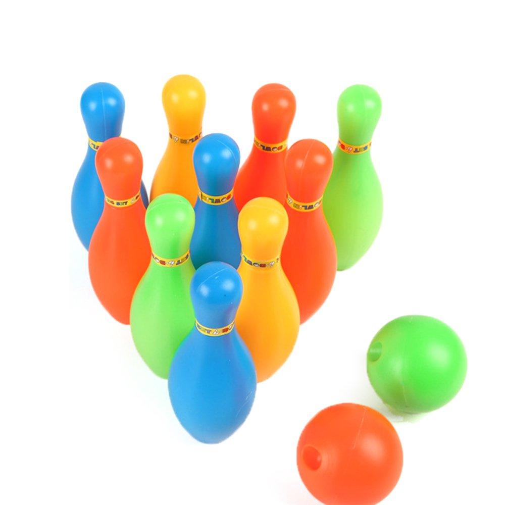 Isuper Mini Juegos de Bolos Miniatura Port/átil del Juguete del Juegos stabilito para I Ni/ños Divertidos 1set Color Aleatorio