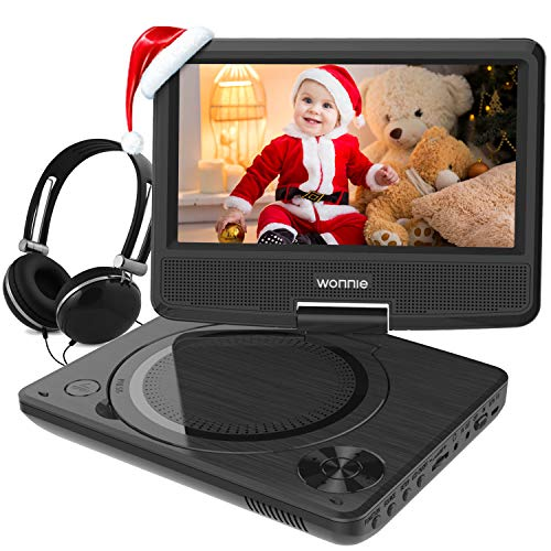 WONNIE 9.5 Inch Portable DVD Player with Swivel Screen, USB / SD Slot and 4 Hours Rechargeable Battery, for Kids ( Black )