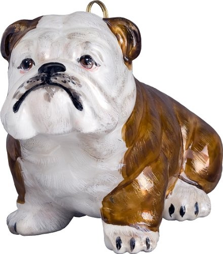 Joy to the World Collectibles European Blown Glass Pet Ornament, Bulldog, Brown and White by Joy To The World Colletibles