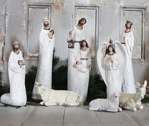 Creative Co-op White Nativity Set (8 pieces)