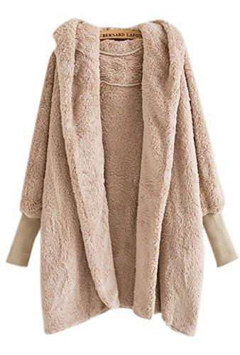 Lightweight Shearling Coat (Women's Winter Thick Warm Fleece Shearling Open Front Cardigan Coat Hooded Jacket)