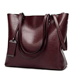 Item Type: Obosoyo Top Handlebag/Shoulder Tote BagStyle: Modern FashionPattern: Solid Color Outer Material: High Quality Greased LeatherInner Material: Nylon FabricClosure: Top Zipper ClosureFeatures: Soft Leather Handle,Unique ornaments,Deta...