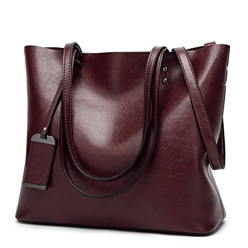 Women Square Tote Bags Top Handle Satchel Handbags Faux Leather Shoulder Zipper Purse - Coffee