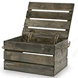 The Lucky Clover Trading Antique Wood Crate Storage Box with Swing Lid, 11'', Gray