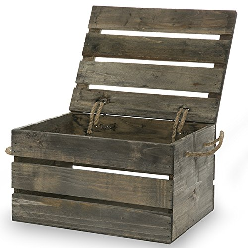 The Lucky Clover Trading Antique Wood Crate Storage Box with Swing Lid, 11
