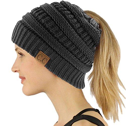 Ponytail Messy Bun BeanieTail Soft Winter Knit Stretchy Beanie Hat Cap Solid Dk. Melange Gray