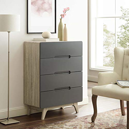 Modway Origin Contemporary Mid-Century Modern 4-Drawer Bedroom Chest in Natural ()