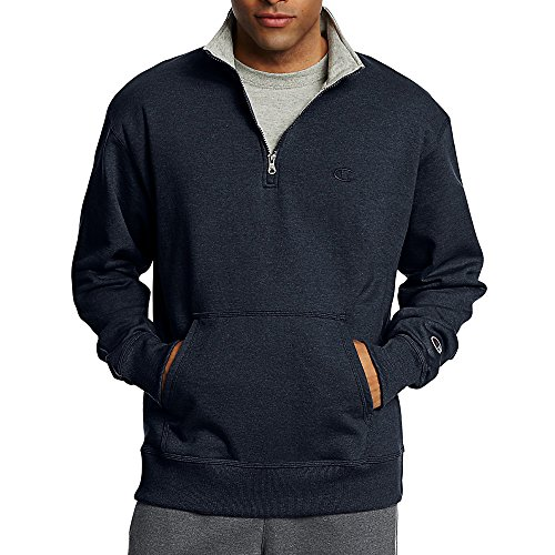 Champion Men's Powerblend Fleece 1/4 Zip Pullover_Navy_XL