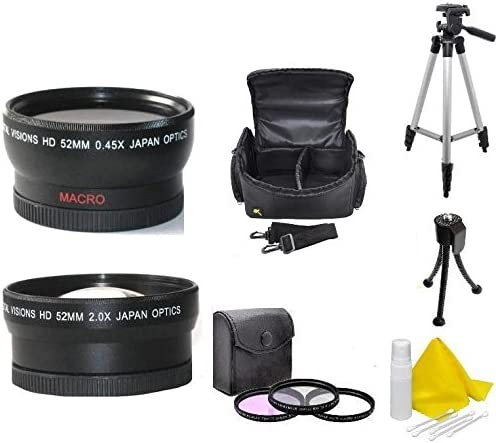 Wide Angle, Telephoto, Tripod, Bag, Filters For Sony HDR-PJ710V HDR-CX760V HDR-PJ760V HDR-PJ790V FDR-AX33 52mm Camera Accessory Kit