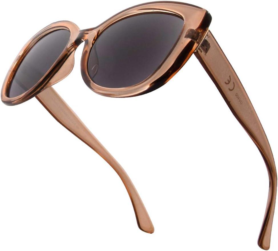VITENZI Bifocal Sunglasses Oversized Cat Eye Readers for Reading Under The Barletta Sun in Champagne 2.25
