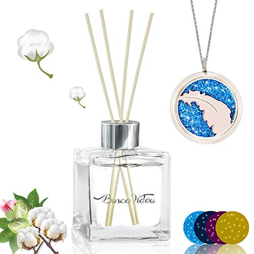 binca vidou Reed Diffuser Clean Cotton with Essential Oil Necklace, Fragrance Oil Diffuser Set with Natural Sticks for Bedroom Bathroom Office Gift Idea 100 ml/3.4 - Diffusers Essential Reed Oils
