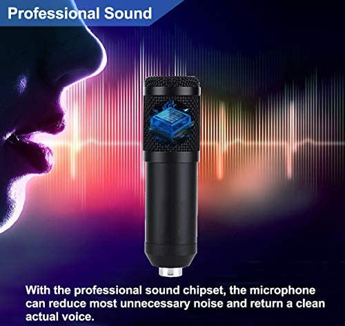【2020 Upgraded】 USB Condenser Microphone for Computer, Great for Gaming, Podcast, LiveStreaming, YouTube Recording, Karaoke on Computer, Plug & Play, with Adjustable Metal Arm Stand, Ideal for Gift 510EqOM3GHL
