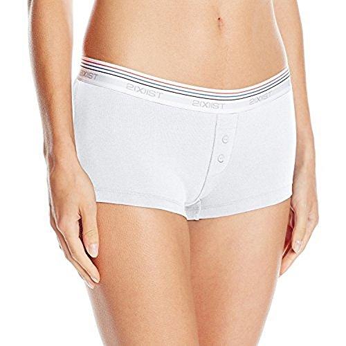 2(X)IST Women's Retro Cotton Boy Short, White, Medium