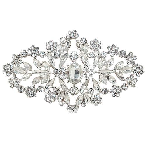 L'vow Silver Wedding Crystal Bridal Brooch Pin Ribbon Sash Belt Brooches (Style - 003) ()