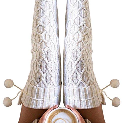 Leg Warmers, Haoricu Women Knitted Long Boot Socks OverKnee Thigh Stocking (White)