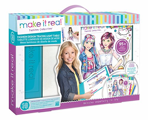Make It Real - Fashion Design Mega Set with Light Table. Kids Fashion Design Kit Includes Light Table, Colored Pencils, Sketchbook, Stencils, Stickers, Design Guide and More -