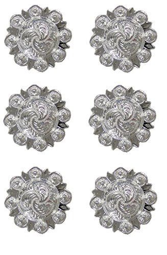 Silver Berry Conchos with Screw - 1.25