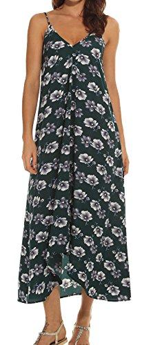 LILBETTER Women V-Neck Polka Dot Print Spaghetti Strap Boho Long Maxi Dresses (L, Green Flower) ()