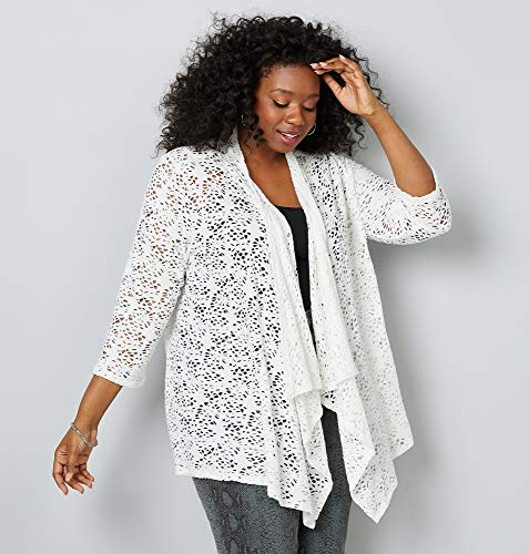 (AVENUE Women's Open Stitch Drapey Cardigan, 26/28 White)