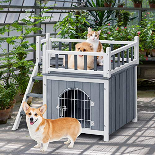 Tangkula Pet Dog House, Outdoor & Indoor Dog/Cat Wooden Puppy House Room with a View, Pet Room with Stairs, Raised Roof and Balcony Bed for Puppies and Dogs, Wooden Dog House (Medium)