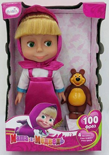 Naughty Doll Masha from Popular Cartoon Masha and the Bear She speaks in Russian 100 phrases and sings 4 songs in a set with a Bear Masha y el Oso muñeca from Masha and the Bear