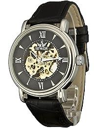 Men's Dress Mechanical Hnad Wind Gold Movement Leather Wrist Watch (Brown Gift Box) (Black Sliver)