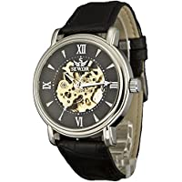 Sewor Men's Dress Mechanical Hnad Wind Gold Movement Leather Wrist Watch (Brown Gift Box) (Black Sliver)