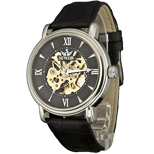 Sewor Men's Dress Mechanical Hnad Wind Gold Movement Leather Wrist Watch (Brown Gift Box) (Black - Movement Skeleton