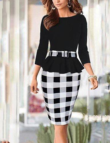 PU&PU Robe Aux femmes Travail , Tartan Col Arrondi Mi-long Coton / Polyester , black-l , black-l