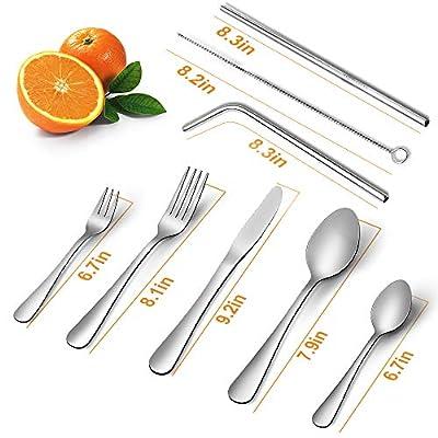 Silverware Set, Elegant Life 23-piece Flatware Set, Stainless Steel Cutlery Tableware Dinnerware Utensil Set, Knives, Forks, Spoons, Straws, Brush for Home Kitchen and Restaurant, Service for 4