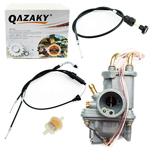 QAZAKY Carburetor + Throttle Cable + Pull Choke Cable Replacement for  Yamaha Peewee PW50 Y-Zinger Dirt Bike Motorcycle 1981-2009 PW 50 Gtmotor  G50T