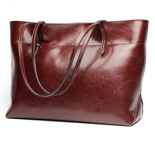 Molodo Womens Satchel Hobo Stylish Top Handle Tote Genuine Leather Handbag Shoulder Purse (Wine-red1) by Molodo