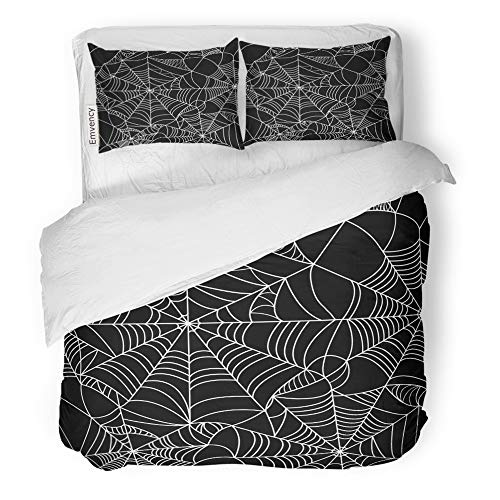 (Emvency 3 Piece Duvet Cover Set Brushed Microfiber Fabric Breathable Pattern Halloween Spider Black and White Spiderweb Bedding Set with 2 Pillow Covers Full/Queen)