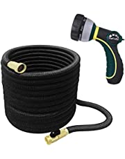 TheFitLife Best Expandable Garden Hose - 25/50/75/100 Feet Strongest Triple Core Latex and Solid Brass Fittings Free Spray Nozzle 3/4 USA Standard Easy Storage Kink Free Flexible Water Hose