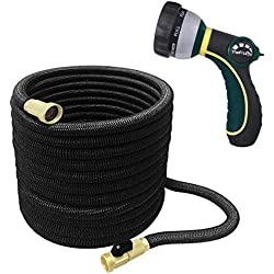 TheFitLife Best Expandable Garden Hose - 25/50/75/100 Feet Strongest Triple Core Latex and Solid Brass Fittings Free Spray Nozzle 3/4 USA Standard Easy Storage Kink Free Flexible Water Hose (75 Feet)