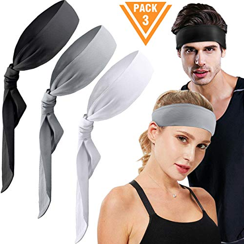 Head Tie Sports Headband 3 Pack Dry-Fit Sweatband for Running, Working Out, Crossfit, Yoga, Basketball,Tennis, Athletics and Pirates with Stretch, Moisture Wicking for Men Women (White, Black, Grey)