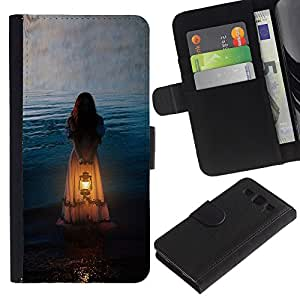 Billetera de Cuero Caso Titular de la tarjeta Carcasa Funda para Samsung Galaxy S3 III I9300 / Girl Woman Orange Light Meaning / STRONG