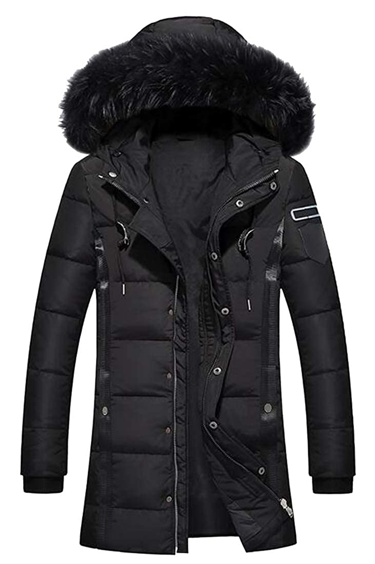 MOUTEN Mens Hoodie Mid Length Plus Size Warm Down Quilted Jacket Coat