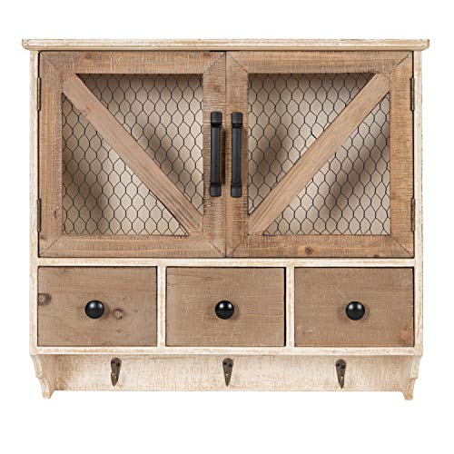 Kate and Laurel Hutchins Farmhouse Wooden Wall Cabinet with Chicken Wire 2-Door Front, Rustic and White-Washed Finish