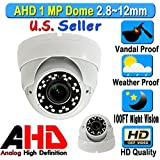 LEXA AHD 1MP 720P Dome 1/4″ Sensor 2.8-12mm VariFocal Wide Angle Lens Vandal Weather Water Proof Night Vision BNC Connection Outdoor CCTV White Camera High Definition HD For Sale