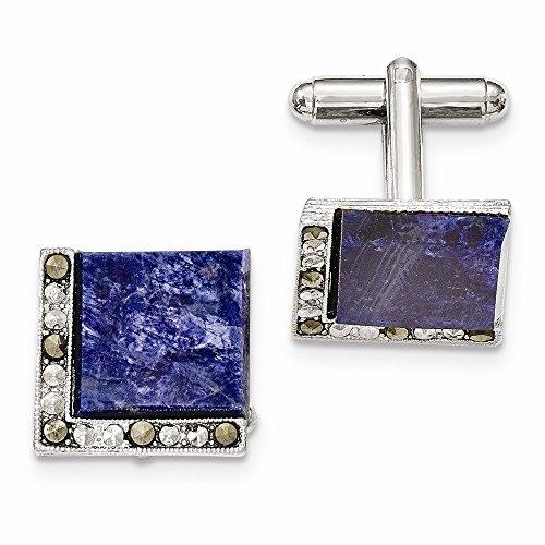 Top 10 Jewelry Gift Silver-tone Sodalite & Marcasite Cuff Links (Marcasite Cuff)