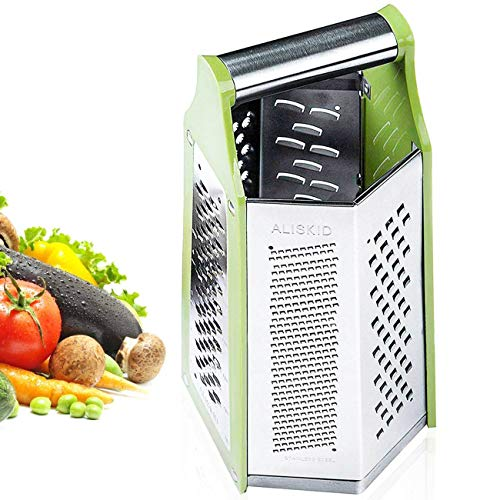 - ALIKUGOU Cheese Grater Vegetable Slicer Zester Stainless Steel with 6 Sides, 9.2 Inches Height Large Box Grater Best for Shredded Parmesan Cheese, Vegetables, Ginger and Fruits