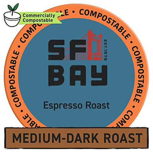 SF Bay Coffee Espresso Roast 120 Ct Dark Roast Compostable Coffee Pods, K Cup Compatible including Keurig 2.0 (Packaging May Vary)