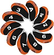 Golf Putter Cover, 10 Pcs Neoprene Iron Putter Head Protector with Zipper Deign and Number Tag Eat to Recogniz