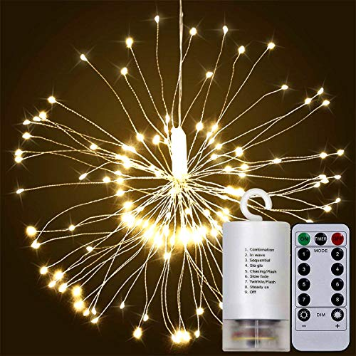 (Alitoo Firework Lights, 120 LED String Fairy Lights Battery Operated Hanging Starburst Decorative Light, Waterproof Dimmable Twinkle Lights with Remote Control for Outdoor Home Patio(Warm White))