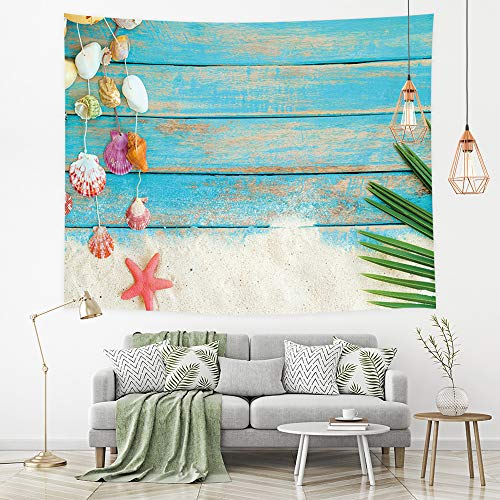 - NYMB Wooden Panels Tapestry Wall Hanging, Nautical Theme Beach Shells and Dtarfish on Blue Plank Wallpaper, Tapestry Wall Art for Bedroom Living Room Collage Dorm Nursery, TV Backdrop 71''W X 60''H