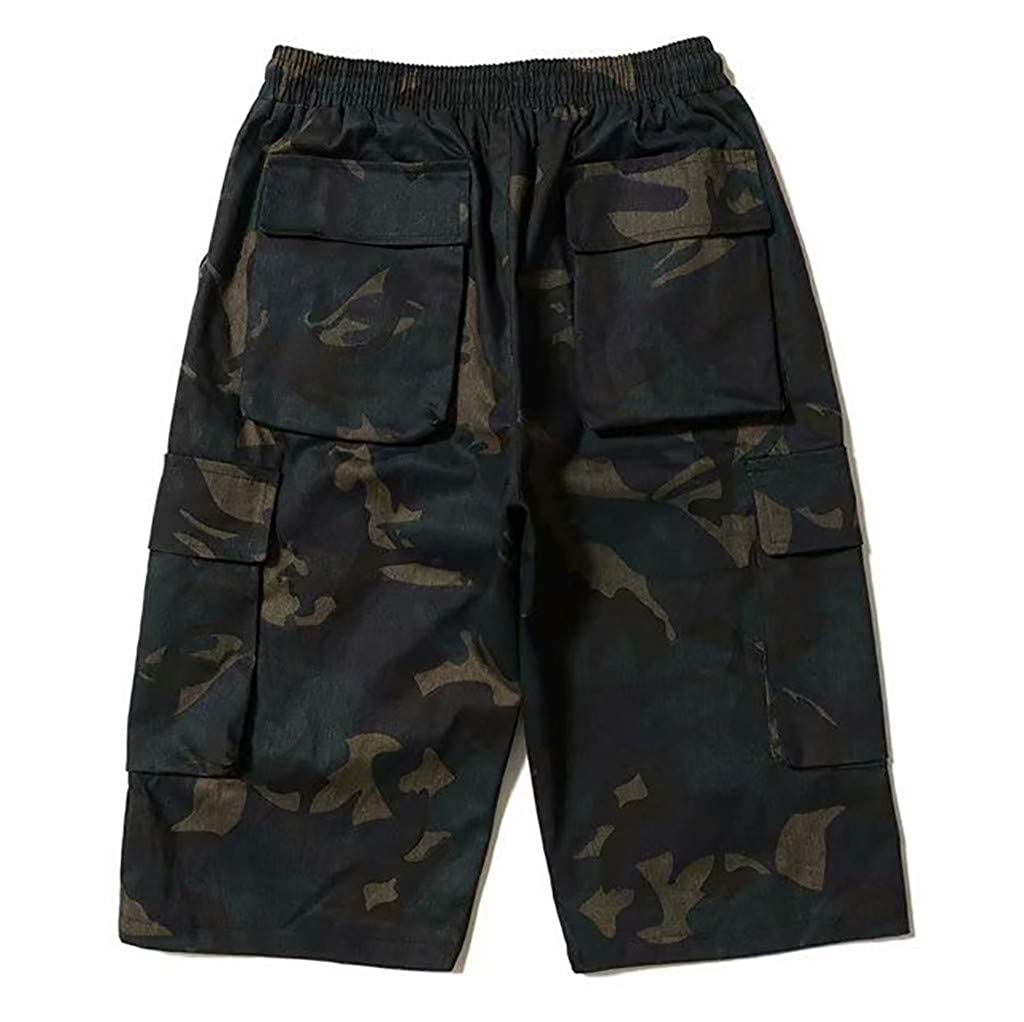 YenMY Shorts Mens Cool Summer Hot Leisure Pants Multi-Pocket Spring Overalls