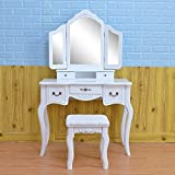 Lovinland 5 Drawers Make-Up Vanity Table Set Tri Folding Mirror Dressing Table with Cushioned Stool Wood White