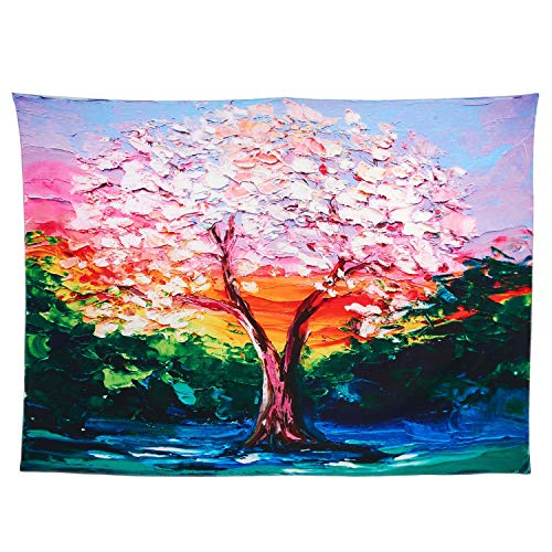 Alicemall Colorful Tree Tapestry Wall Hangings Bohemian Red and Green Oil Painting Style Big Tree Prints Wall Tapestries for Living Room Bedroom, 60 x 80 inches(ColorfulTree)